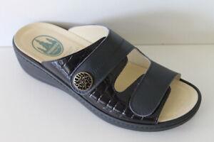 Details zu Franken Schuhe Damen Pantolette Leder Wechselfussbett Nightblue Gr 37 42