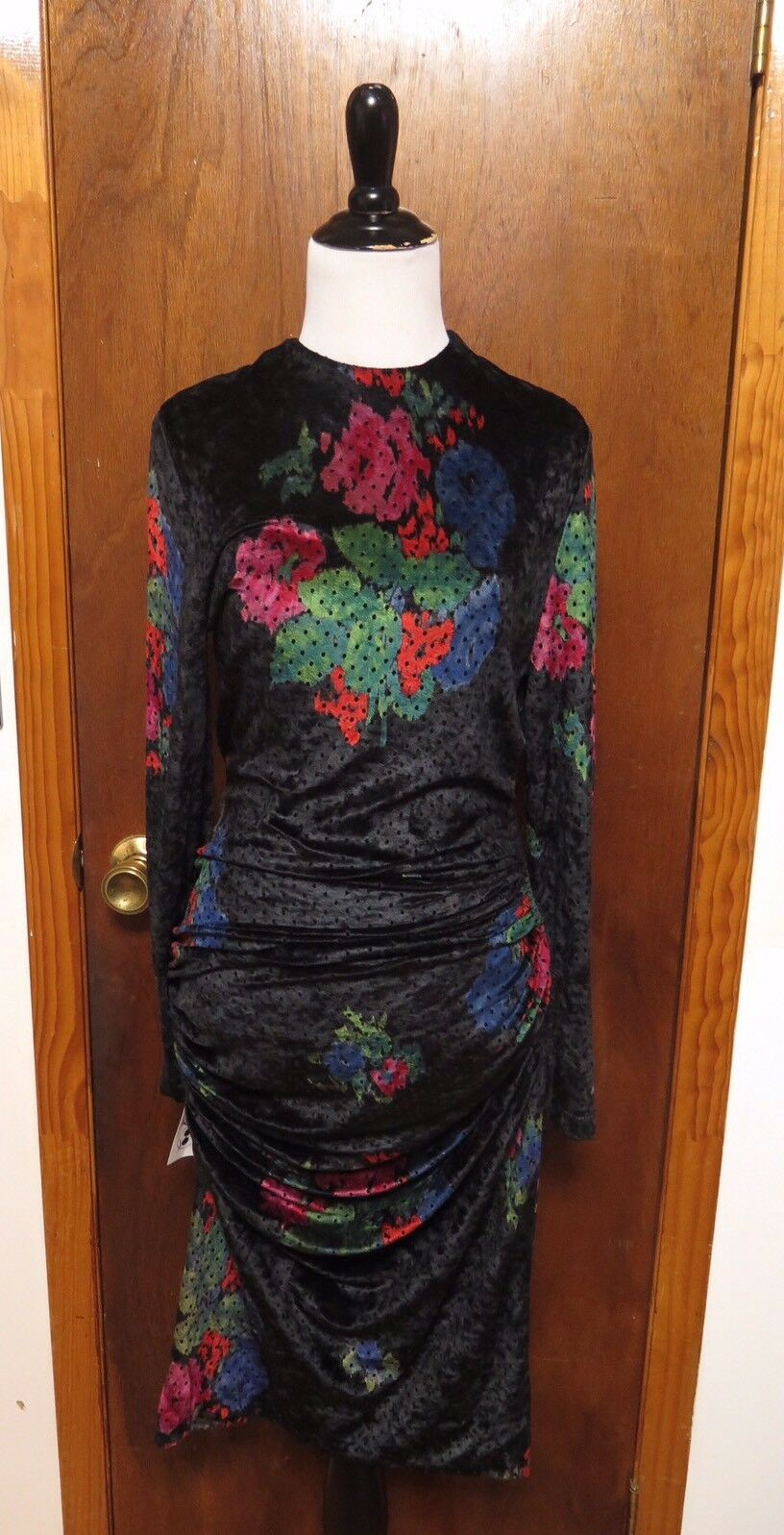 Vintage Lanvin Floral Velour Ruched Wiggle Dress Sz 38