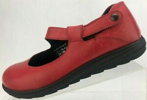 Romika-Mary-Jane-Comfort-Red-Leather-Casual-Clog-Flats-Womens-38-US-7-7-5