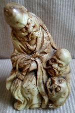 ANTIQUE Carved STONE STATUE 2 CHINESE Old Men Figurine w/Tiger