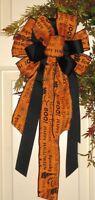 Fall Halloween Boo Bow Use On Grapevine Door Wreath, Garland, Post Lantern