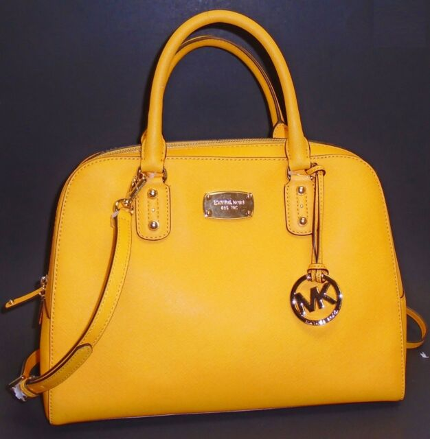 New Michael Kors Vintage Yellow Saffiano Leather Satchel Gold Crossbody Handbag