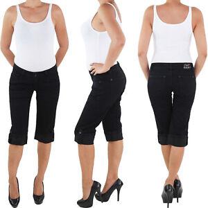 Damen-Stretch-Capri-Kurze-3-4-Jeans-Hose-Shorts-Bemuda-Hueft-Sommer-Schwarz