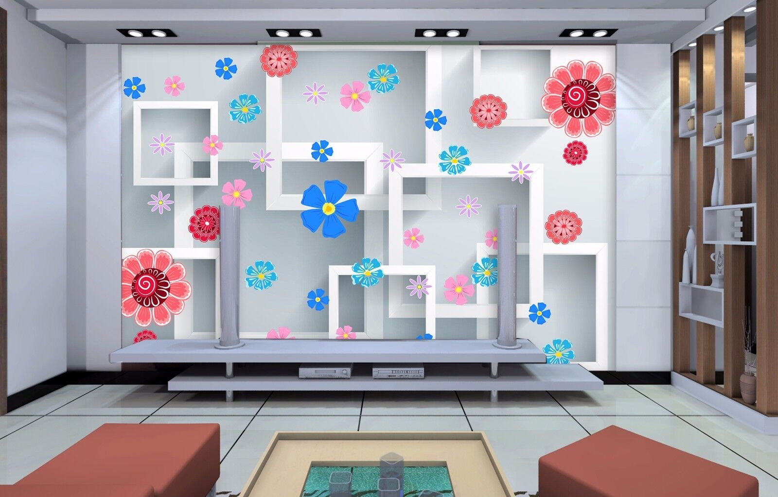 3D Modern floral 5354 Wall Paper Wall Print Decal Wall Deco Indoor Wall Murals