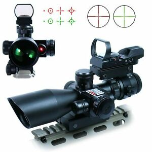 New-Tactical-2-5-10X40-Rifle-Scope-w-Red-Laser-amp-Holographic-Green-Red-Dot-Sight
