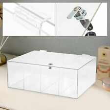 Clear Acrylic Counter Locking Jewelry Toy Display Case 4 Grids Display Box Usa