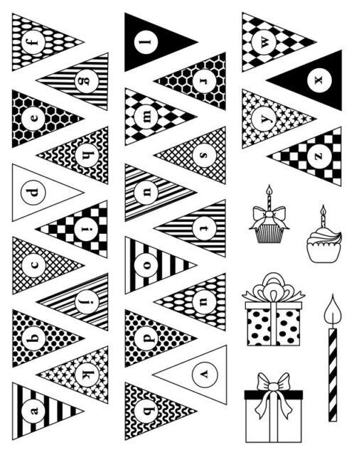 Clearstamps Acrylstempel Motivstempel Set Wimpel-Alphabet Party Artemio 10001288