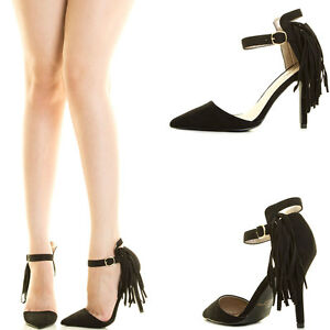 83671330c21 Details about Black Pointy Toe Fringe Tassel Ankle Strap Stiletto High Heel  Womens Pump Sandal