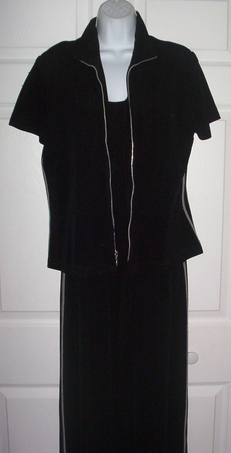 Woherren Athletic Themed 3 Piece Set Größe 10 Dress Jacket & Pants schwarz & grau