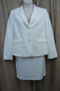 b858bebc6b Tahari ASL Skirt Suit Sz 16 Pearl White DAVID Pleated Career ...