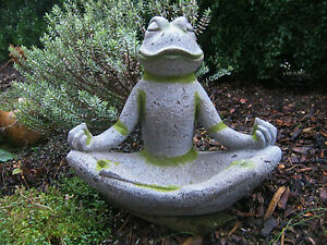 vogeltr nke yoga frosch garten balkon deko figur keramik skulptur 37 cm hoch neu ebay. Black Bedroom Furniture Sets. Home Design Ideas