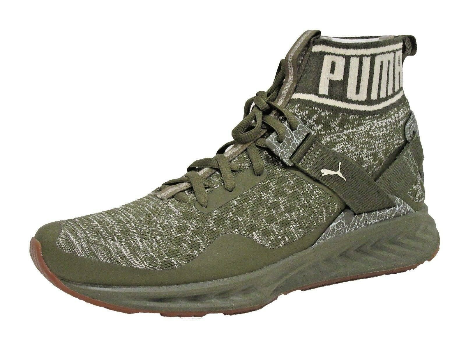 PUMA Men's Ignite Evoknit Hypernature Sneaker, Olive Night-Birch White