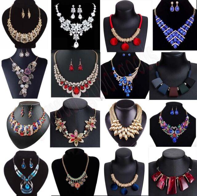 Fashion Women Crystal Chunky Pendant Statement Choker Bib Necklace Jewelry