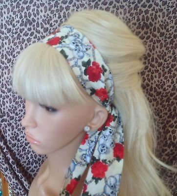 CREAM SKULL ROSE FABRIC HEAD SCARF HAIR BAND SELF TIE BOW 50s ROCKABILLY GOTHIC