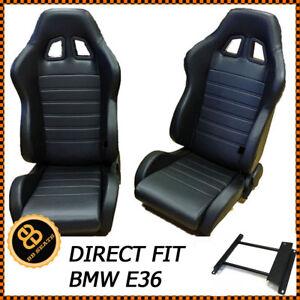 PAIR-BB4-Reclining-Tilting-Bucket-Racing-Sports-Seats-Black-Sub-Frames-BMW-E36