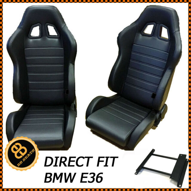Pair Bb4 Reclining Tilting Bucket Racing Sports Seats Black Sub Frames Bmw E36 For Sale Online Ebay
