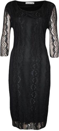 Neue Frauen Plus Size Wunderschöne 3//4 Sleeve Floral Lace Kleid 42-56