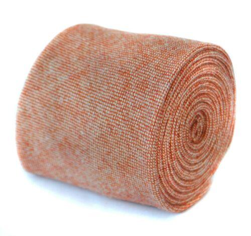Frederick Thomas mens plain pale orange dark peach 100/% wool tweed tie FT2093