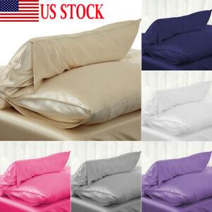 Silk-Pillow-Case-Cushion-Cover-Pillowcase-Standard-Queen-Size-Solid-Color-USA