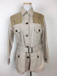 Vintage-10X-Womens-Shooting-Field-Jacket-EU-38-US-M-Khaki-Leather-Belt-Safari