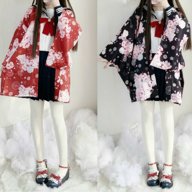 Damen Japanisch Mantel Kimono Lucky Cat Strickjacke Bluse Yukata Jacke Hemd