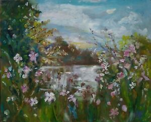 Wild-Flowers-amp-WaterWensleydale-OIL-PAINTING-signed-Impressionism-Yorkshire-Dales