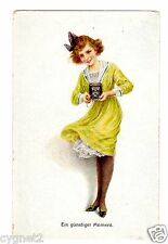 "POSTCARD GERMAN WOMAN WITH CAMERA ""A FAVORABLE MOMENT"""