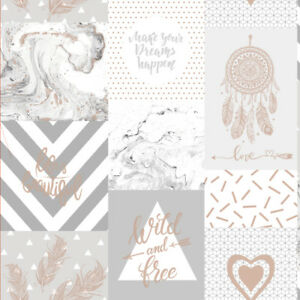 Details About Holden Decor Life Is Beautiful Quotes Geometric Marble Wallpaper Grey Rose Gold