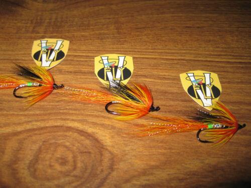 3 V Fly Size 10 Signature Cascade Green Butt Single Hook Salmon Flies
