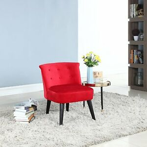 Pleasing Details About Modern Living Room Chair Armless Velvet Accent Chair Wood Legs Red Ibusinesslaw Wood Chair Design Ideas Ibusinesslaworg