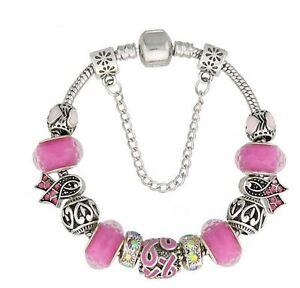 "Pink Ribbon Breast Cancer Awareness European Bead Charm Silver 7.5"" Bracelet"