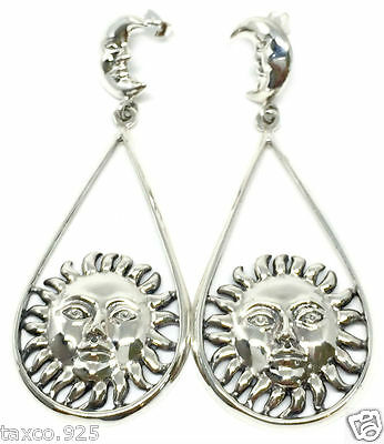 MOLINA TAXCO MEXICAN STERLING SILVER SUN MOON EARRINGS MEXICO