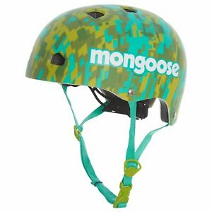 Mongoose-2-Street-Youth-Camo-Hardshell-Bike-Bicycle-Helmet-Blue-Green