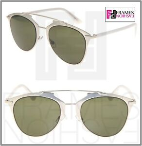d75291d69224 Image is loading CHRISTIAN-DIOR-REFLECTED-Silver-White-Green-Metal- Sunglasses-