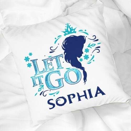 PERSONALISED Let it go Sequin Elsa Cushion Frozen pillow Christmas present Gift