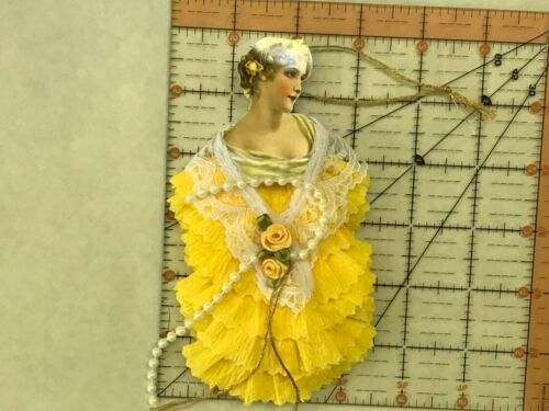 item# 15 Victorian lady Paper doll Vintage inspired Dresden ornaments