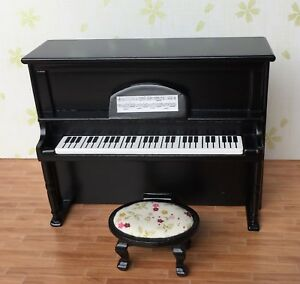 1-12-Scale-Dollhouse-Music-Room-Furniture-Instrument-Wooden-Piano-amp-Stool-HE005G