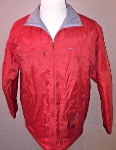Nike-Men-039-s-Red-Full-Zip-Athletic-Windbreaker-Jacket-Coat-Size-Medium