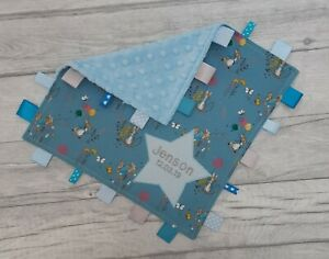 Taggy Blanket Blue Monkey Taggy 30 Cm Square Personalised