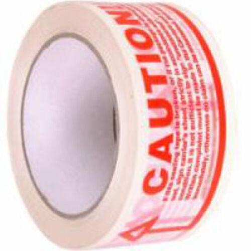 6x 48mm x 66m Caution Packaging Parcel Tape Rolls