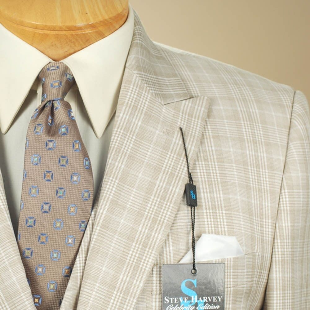 50L STEVE HARVEY 3 Piece Beige Plaid Suit - 50 Long - SB17