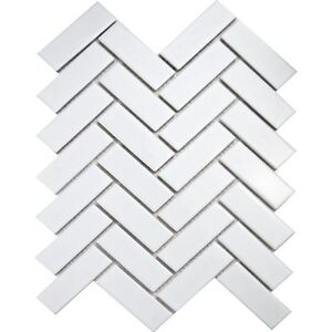 Image Is Loading Bijou White Matt Herringbone Porcelain Mosaic Floor Wall