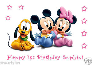 MINNIE MICKEY MOUSE PLUTO BABY Personalised Cake Toppers Edible