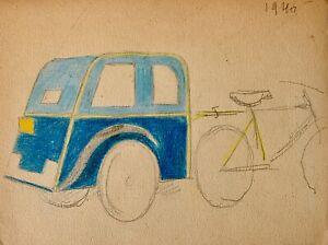 Auguste Roubille Dessin Crayon Velo Taxi Ebay