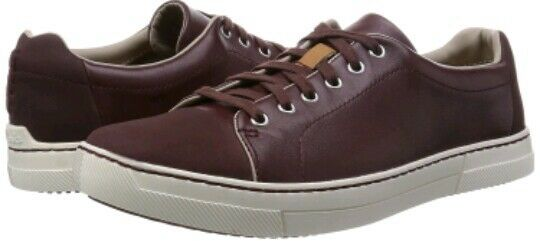CLARKS Ballof Walk Leather Lace-up Sneaker shoes Burgundy Size uk 7.5 eu 41.5
