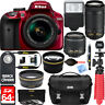 'Nikon D3400 Red DSLR Camera w/ DX 18-55mm VR & 70-300mm ED Lens Accessory Bundle' from the web at 'https://i.ebayimg.com/images/g/NvUAAOSw4PxZ~GCn/s-l96.jpg'