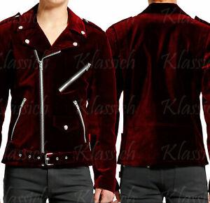 Mens-Gothic-Moto-Red-Velvet-Motorcycle-Jacket-Punk-Fetish-EMO-Biker-Jacket