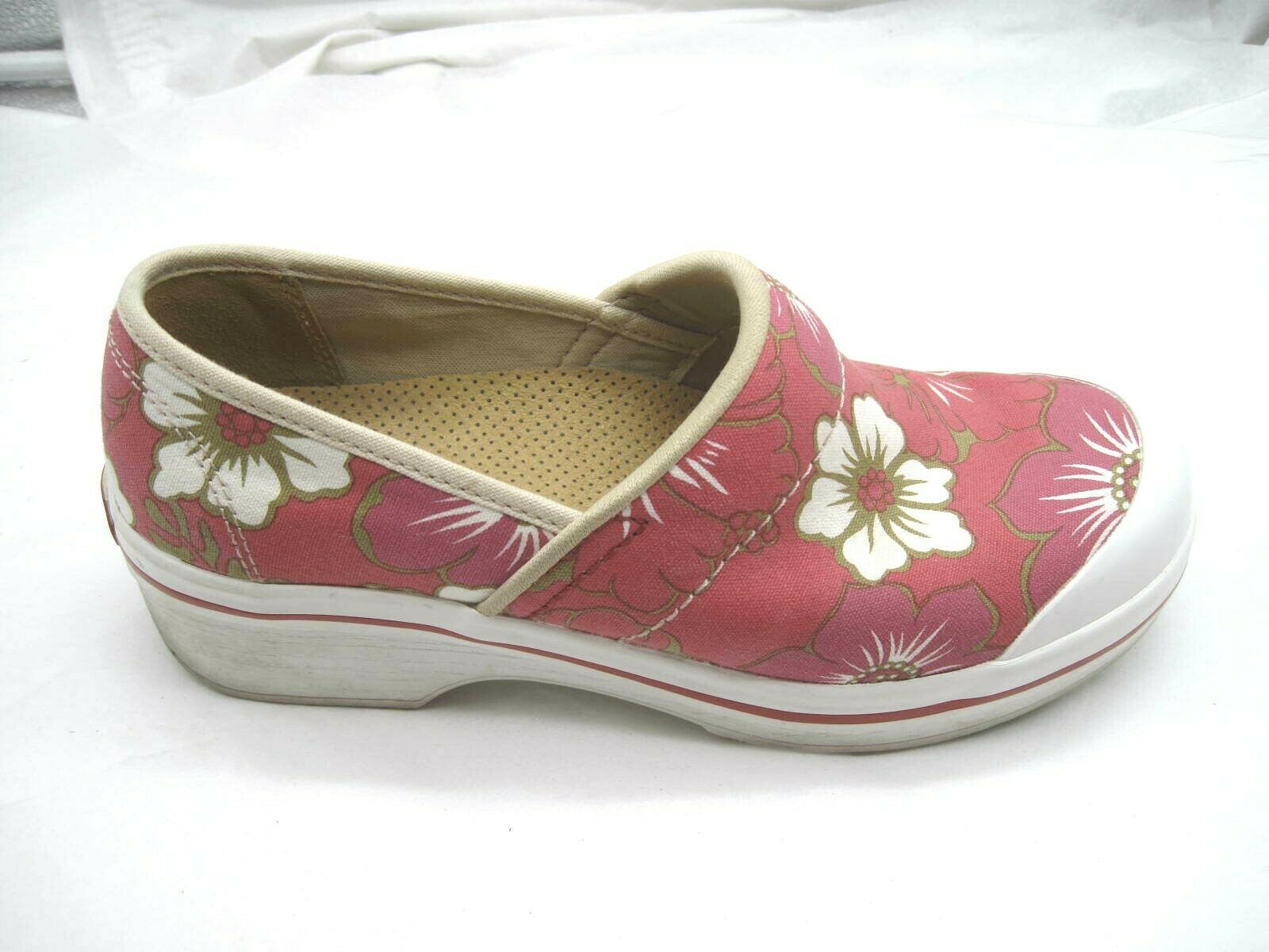Dansko size 37 6M red floral clogs womens ladies flats loafers shoes 6600960100