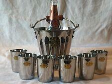 Le Prince Jardinier Wine Bucket Cooler W Handle & Set 6 Cache Pots Tumbler Cups