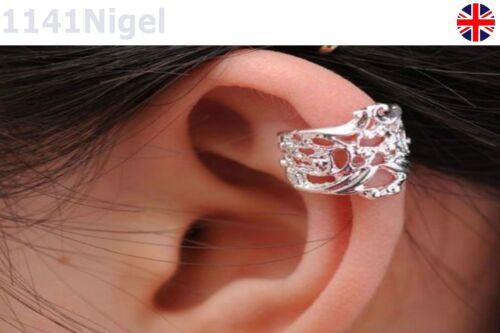 Unisex Plateado Hueco Flor oreja dobladillo pendientes no Piercing Joyería Envolvente